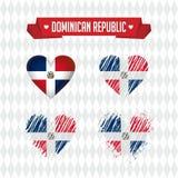 La République Dominicaine avec amour Le coeur brisé de vecteur de conception avec le drapeau à l'intérieur illustration libre de droits