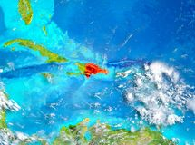 La République Dominicaine en rouge sur terre Photos libres de droits