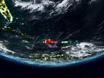 La République Dominicaine pendant la nuit images stock