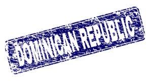 La RÉPUBLIQUE DOMINICAINE rayée a encadré le timbre arrondi de rectangle illustration de vecteur