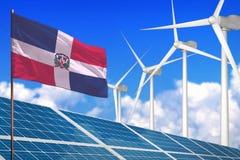 La République Dominicaine solaire et l'énergie éolienne, concept d'énergie renouvelable avec les panneaux solaires - énergie reno illustration de vecteur
