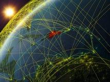 La République Dominicaine sur terre avec le réseau illustration libre de droits