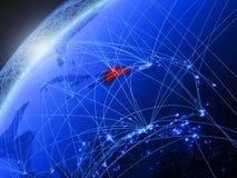 La République Dominicaine sur la terre bleue avec le réseau illustration libre de droits