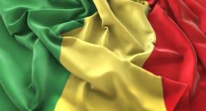 La République du Congo macro Clos admirablement de ondulation hérissé par drapeau images stock