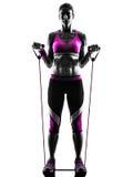 La résistance de forme physique de femme réunit la silhouette d'exercices Photographie stock
