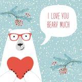 La rétro carte tirée par la main mignonne de jour du ` s de Valentine en tant qu'ours drôle avec le coeur et la parole bouillonne illustration stock