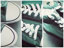 La rétro espadrille de chaussure de sports lacent se lève Images stock