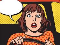 La rétro fille a effrayé le conducteur illustration de vecteur