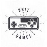 La rétro manette de jeu vidéo de 8 bits 80 du ` s peut être utilisée comme l'insigne, le label, l'emblème, l'autocollant, la bann Images stock