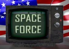 La rétro télévision de vintage, parodie sur les Etats-Unis espacent la force illustration stock