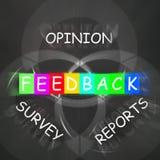 La rétroaction montre des rapports et des enquêtes des avis Images libres de droits