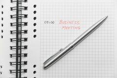 La réunion d'affaires a ordonnancé (avec les lettres rouges) Photographie stock