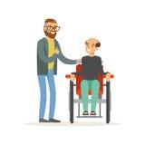 La réunion des amis, deux hommes parlant, un a désactivé l'homme s'asseyant dans un fauteuil roulant, une aide de soins de santé  illustration stock