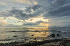 Sunset in Saint-Leu on La Réunion Island. La Réunion or Reunion Island is a French department in the Indian Ocean. This picture was taken near the town of Stock Images