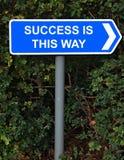 La réussite est ce signe de voie Photographie stock