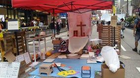 La révolution 2014 de parapluie de protestations de Nathan Road Occupy Mong Kok Hong Kong occupent le central Photo stock