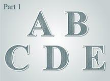 La rabescatura segna la A con lettere B C D E Immagine Stock