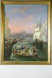 绘从La Rabida的离开由Cabral Bejarano,描述克里斯托弗・哥伦布离开对新的世界,如被看见 免版税库存照片