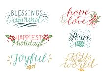 La raccolta con 6 carte variopinte di festa ha fatto le benedizioni dell'iscrizione della mano abbondare Pace Gioia al mondo alle illustrazione di stock