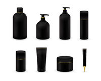 La raccolta cosmetica in bianco del pacchetto ha messo su fondo bianco Derisione cosmetica realistica della bottiglia installata  Fotografie Stock