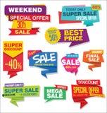 La raccolta degli autoadesivi di vendita e gli origami delle etichette progettano Immagine Stock