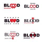 La raccolta degli emblemi di vettore ha creato sull'idea di donazione di sangue, blo illustrazione di stock