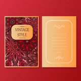 La raccolta degli inviti o delle carte con gli elementi decorativi d'annata di progettazione dell'ornamento rotondo della mandala Immagini Stock