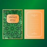 La raccolta degli inviti o delle carte con gli elementi decorativi d'annata di progettazione dell'ornamento rotondo della mandala Fotografie Stock Libere da Diritti