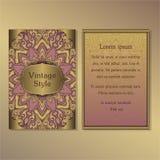 La raccolta degli inviti o delle carte con gli elementi decorativi d'annata di progettazione dell'ornamento rotondo della mandala Fotografia Stock Libera da Diritti