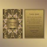 La raccolta degli inviti o delle carte con gli elementi decorativi d'annata di progettazione dell'ornamento rotondo della mandala Immagini Stock Libere da Diritti