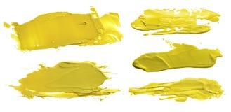 La raccolta dei colpi acrilici astratti della spazzola di colore macchia Immagine Stock Libera da Diritti