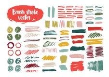 La raccolta dei colpi variopinti della spazzola, pittura rintraccia, si macchia, sbavature, macchie, scarabocchio isolato su fond illustrazione di stock