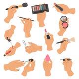 La raccolta dei cosmetici di trucco e le spazzole in mani isolate su fondo bianco vector l'illustrazione illustrazione di stock