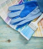 La raccolta dei guanti protettivi colora i pennelli del campionatore sul wo Fotografia Stock