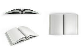 La raccolta dei libri bianchi 3d Open rende su fondo bianco Fotografia Stock