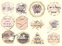La raccolta dei telai dorati di vettore desidera i punti dell'acquerello nel fema royalty illustrazione gratis