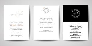 La raccolta del logos del monogramma di nozze, le carte minimalistic e floreali moderne disegnate a mano dell'invito dei modelli, royalty illustrazione gratis