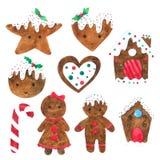 La raccolta dell'acquerello dei biscotti di Chistmas su fondo bianco, disegnato a mano per i bambini, la cartolina d'auguri, casi illustrazione di stock