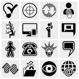 Affare, amministrazione, icone isocial di media messe Immagine Stock