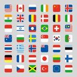 La raccolta dell'icona della bandiera ha arrotondato l'illustrazione piana quadrata di vettore Fotografie Stock Libere da Diritti