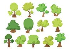La raccolta dell'insieme dell'albero isolata ed essere fresca è verde royalty illustrazione gratis