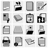 Insieme dell'icona delle icone del documento, della carta e dell'archivio Fotografie Stock Libere da Diritti