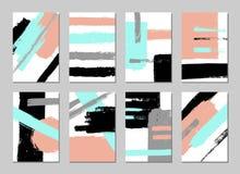La raccolta dell'universale creativo artistico disegnato a mano carda i modelli Fotografia Stock
