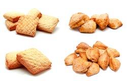 La raccolta delle foto perfeziona la pasticceria del biscotto dei biscotti isolata Fotografie Stock