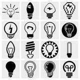 Insieme dell'icona di vettore della lampadina. Fotografie Stock Libere da Diritti
