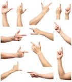 La raccolta delle mani maschii tocca o clicca a qualcosa Immagine Stock Libera da Diritti