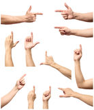 La raccolta delle mani maschii tocca o clicca a qualcosa Immagini Stock