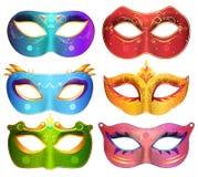 La raccolta delle maschere di protezione per il carnevale del partito di travestimento maschera il vettore Fotografia Stock Libera da Diritti