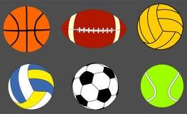 La raccolta delle palle di sport Vector l'illustrazione isolata su fondo Fotografie Stock Libere da Diritti