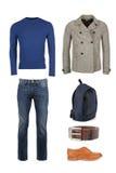 La raccolta di abbigliamento casuale per gli uomini immagini stock libere da diritti